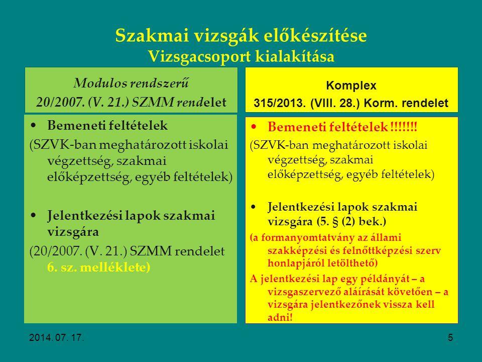 Szakmai vizsgák előkészítése Vizsgacsoport kialakítása 2014. 07. 17.4