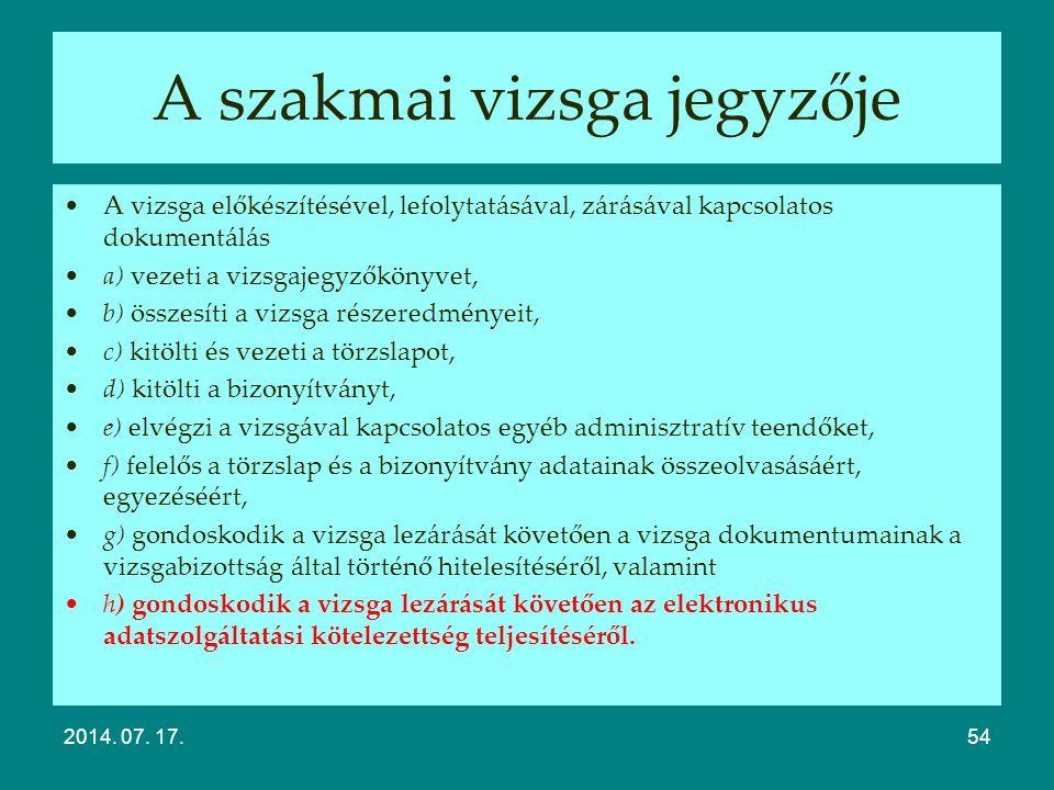 A vizsga értékelése Modulos rendszerű 20/2007. (V. 21.) SZMM rendelet Súlyozott százalékos értékelés Egyetlen érdemjegy Komplex 315/2013. (VIII. 28.)