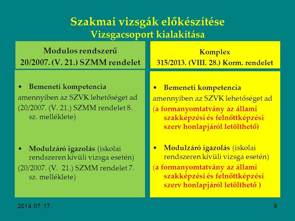 Szakmai vizsgák előkészítése Vizsgacsoport kialakítása Modulos rendszerű 20/2007. (V. 21.) SZMM rendelet Bemeneti feltételek (SZVK-ban meghatározott i