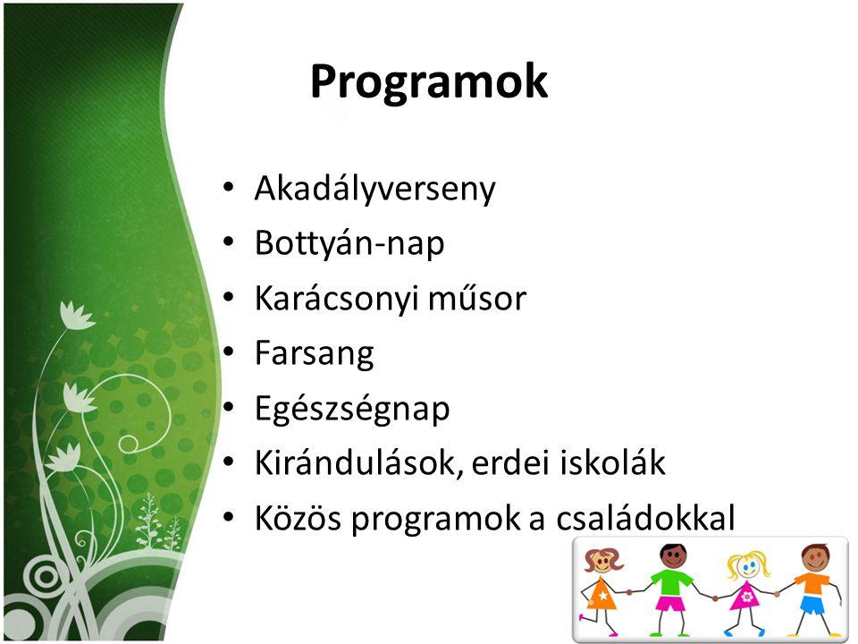 Programok Akadályverseny Bottyán-nap Karácsonyi műsor Farsang Egészségnap Kirándulások, erdei iskolák Közös programok a családokkal