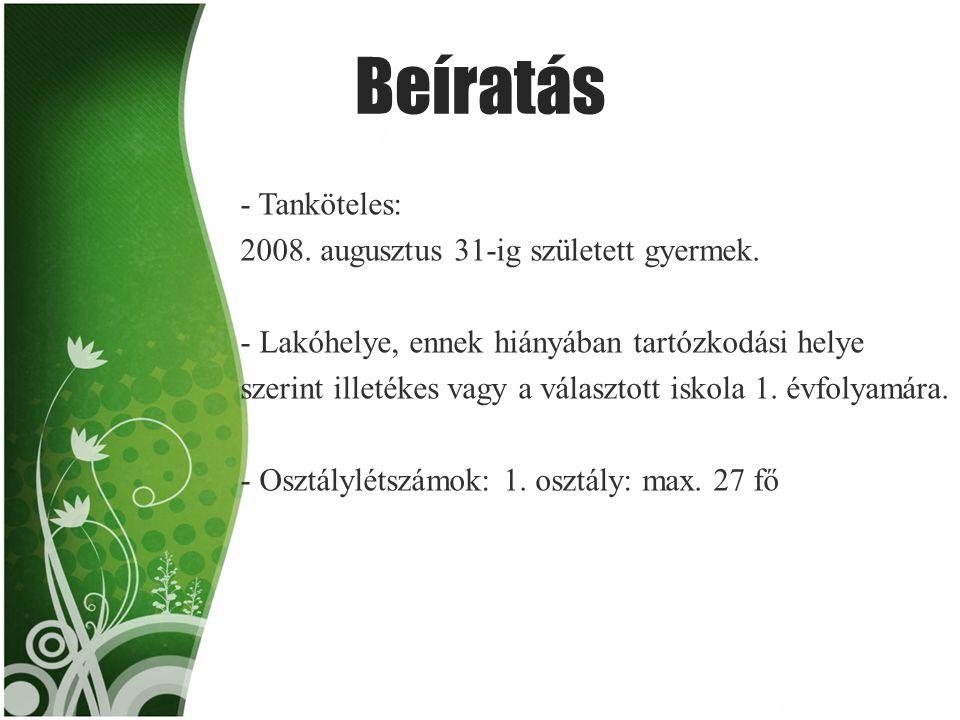 Beíratás - Tanköteles: 2008. augusztus 31-ig született gyermek. - Lakóhelye, ennek hiányában tartózkodási helye szerint illetékes vagy a választott is