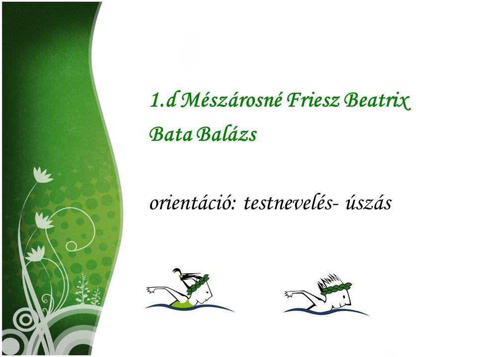 1.d Mészárosné Friesz Beatrix Bata Balázs orientáció: testnevelés- úszás