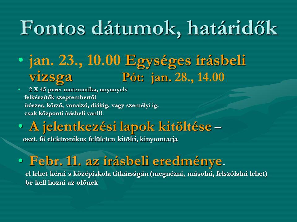 Fontos dátumok, határidők Egységes írásbeli vizsga Pót: jan.jan.