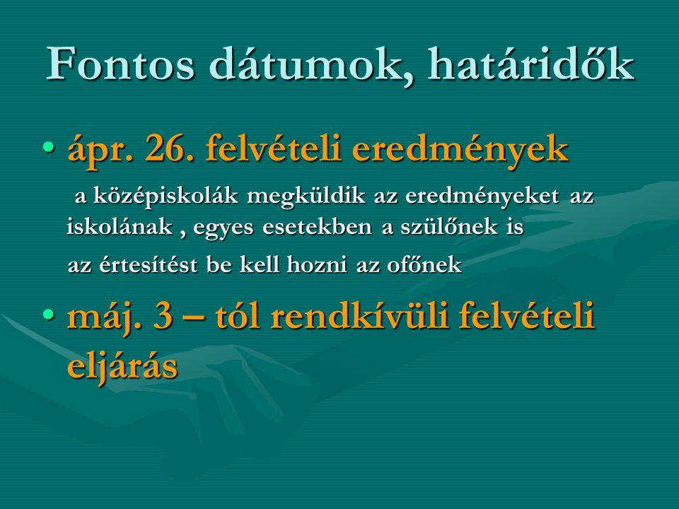 Fontos dátumok, határidők máj.28.a fellebbezések elbírálása – fenntartómáj.28.