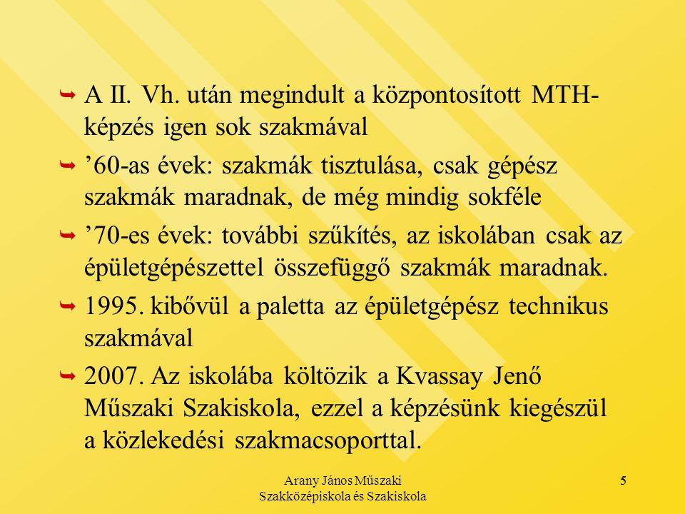 Arany János Műszaki Szakközépiskola és Szakiskola 5   A II.