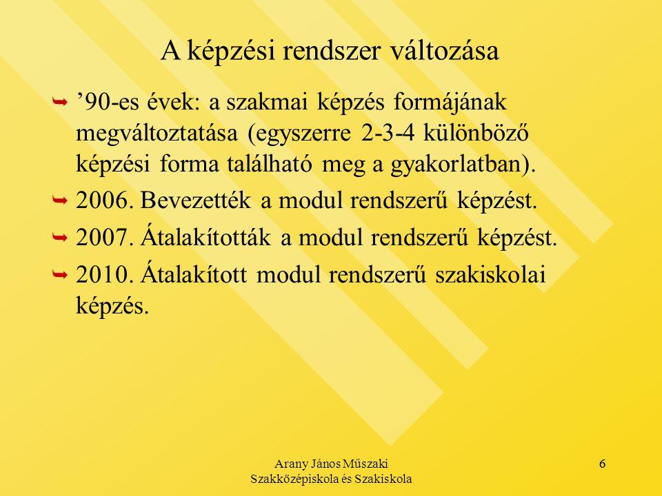 Arany János Műszaki Szakközépiskola és Szakiskola 6   '90-es évek: a szakmai képzés formájának megváltoztatása (egyszerre 2-3-4 különböző képzési forma található meg a gyakorlatban).