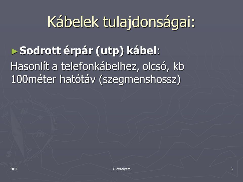 Kábelek tulajdonságai: ► Sodrott érpár (utp) kábel: Hasonlít a telefonkábelhez, olcsó, kb 100méter hatótáv (szegmenshossz) 20117. évfolyam6