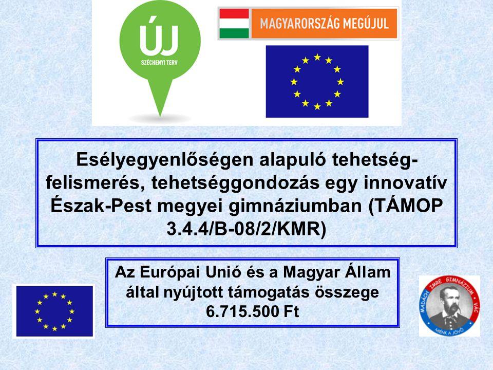 Esélyegyenlőségen alapuló tehetség- felismerés, tehetséggondozás egy innovatív Észak-Pest megyei gimnáziumban (TÁMOP 3.4.4/B-08/2/KMR) Az Európai Unió és a Magyar Állam által nyújtott támogatás összege 6.715.500 Ft