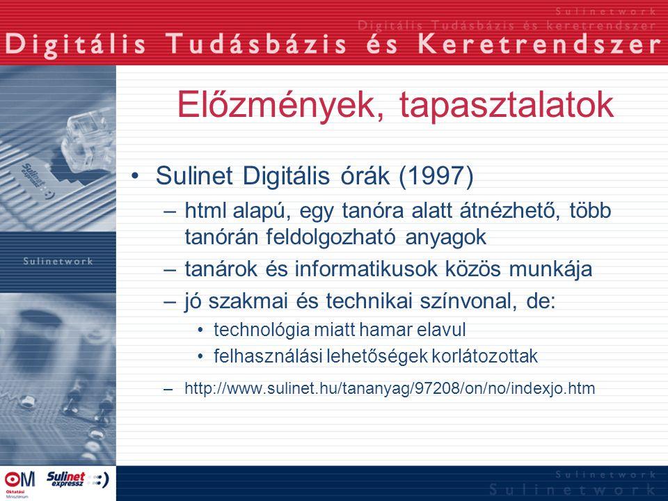 Előzmények, tapasztalatok Sulinet Digitális órák (1997) –html alapú, egy tanóra alatt átnézhető, több tanórán feldolgozható anyagok –tanárok és inform
