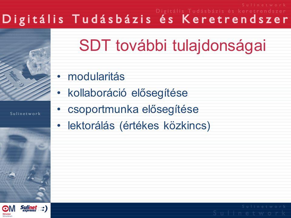 SDT további tulajdonságai modularitás kollaboráció elősegítése csoportmunka elősegítése lektorálás (értékes közkincs)