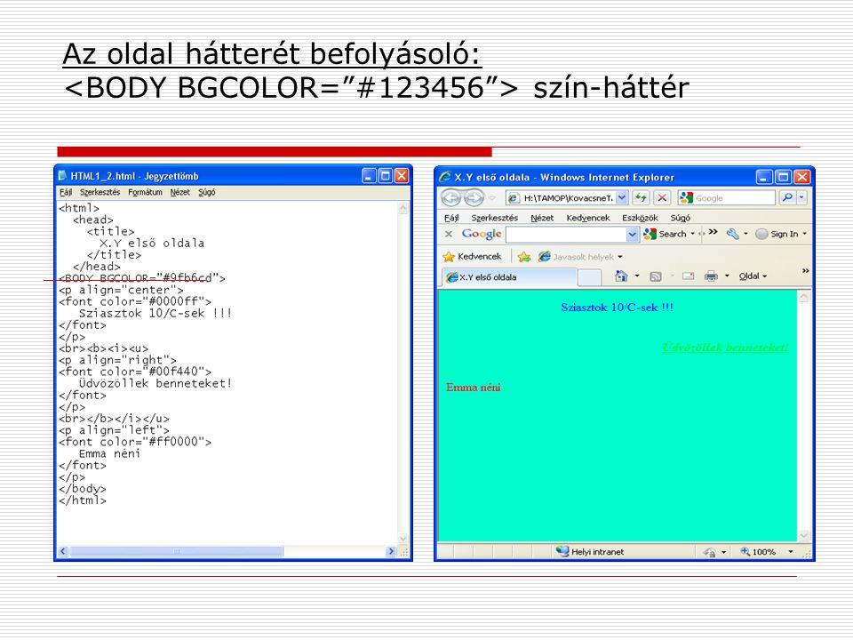 Az oldal hátterét befolyásoló: szín-háttér