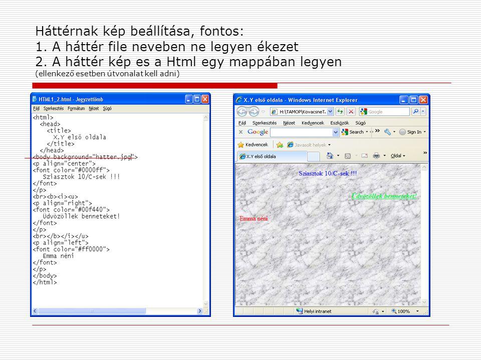 Háttérnak kép beállítása, fontos: 1. A háttér file neveben ne legyen ékezet 2. A háttér kép es a Html egy mappában legyen (ellenkező esetben útvonalat