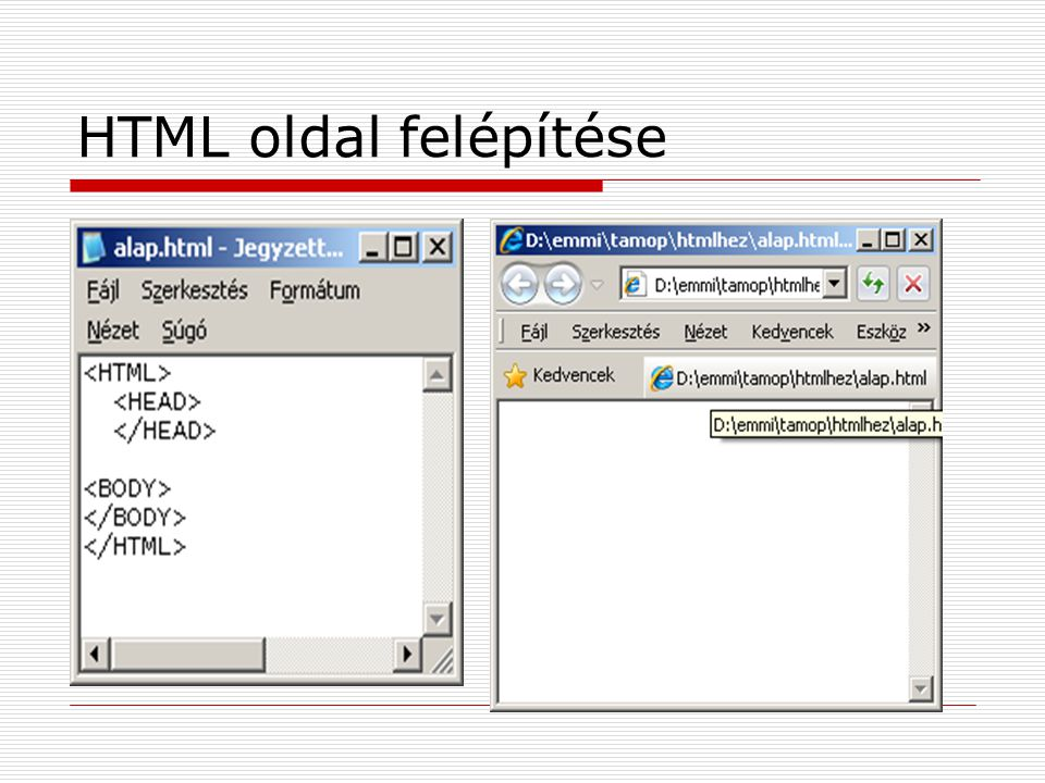 HTML oldal felépítése