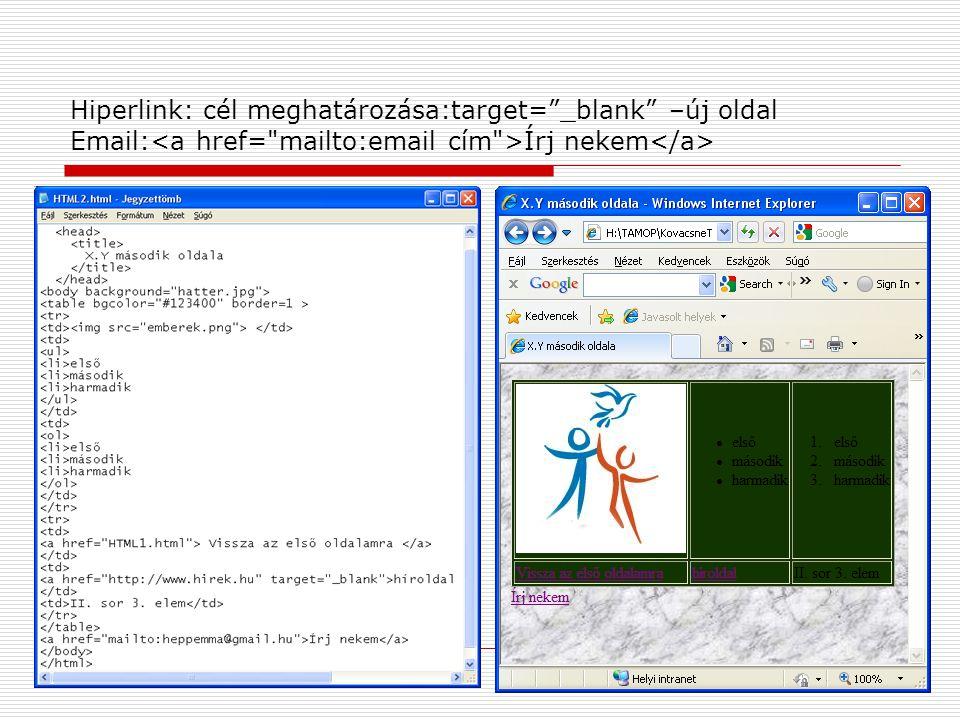 Hiperlink: cél meghatározása:target= _blank –új oldal Email: Írj nekem
