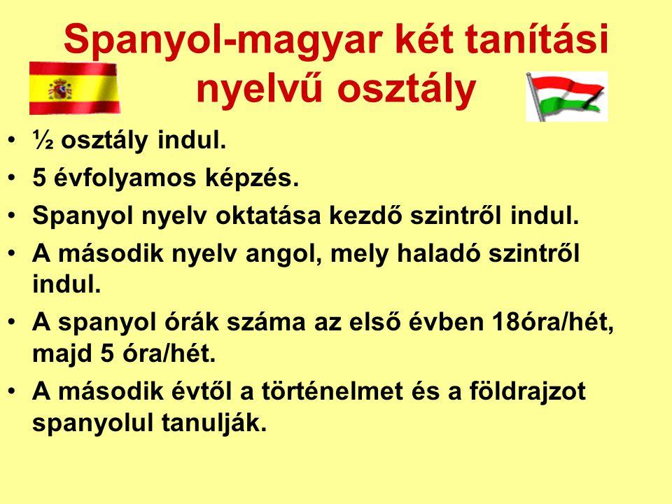 Spanyol-magyar két tanítási nyelvű osztály ½ osztály indul.