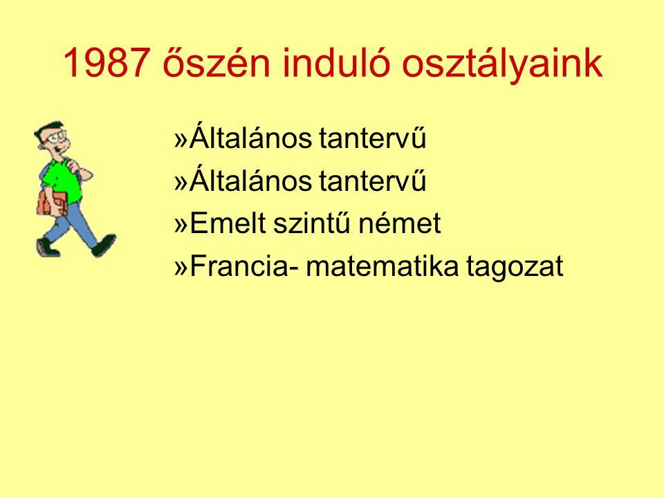 1987 őszén induló osztályaink »Általános tantervű »Emelt szintű német »Francia- matematika tagozat