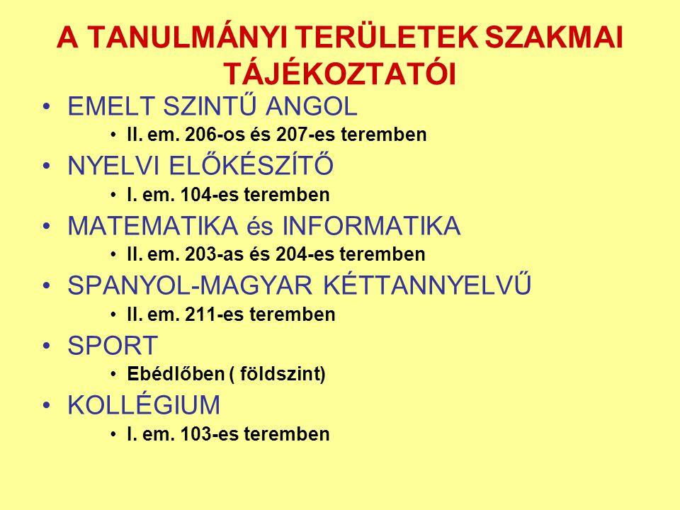 A TANULMÁNYI TERÜLETEK SZAKMAI TÁJÉKOZTATÓI EMELT SZINTŰ ANGOL II.