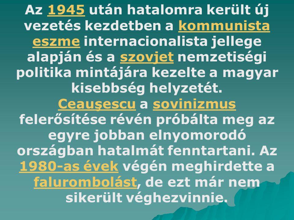Az 1945 után hatalomra került új vezetés kezdetben a kommunista eszme internacionalista jellege alapján és a szovjet nemzetiségi politika mintájára ke