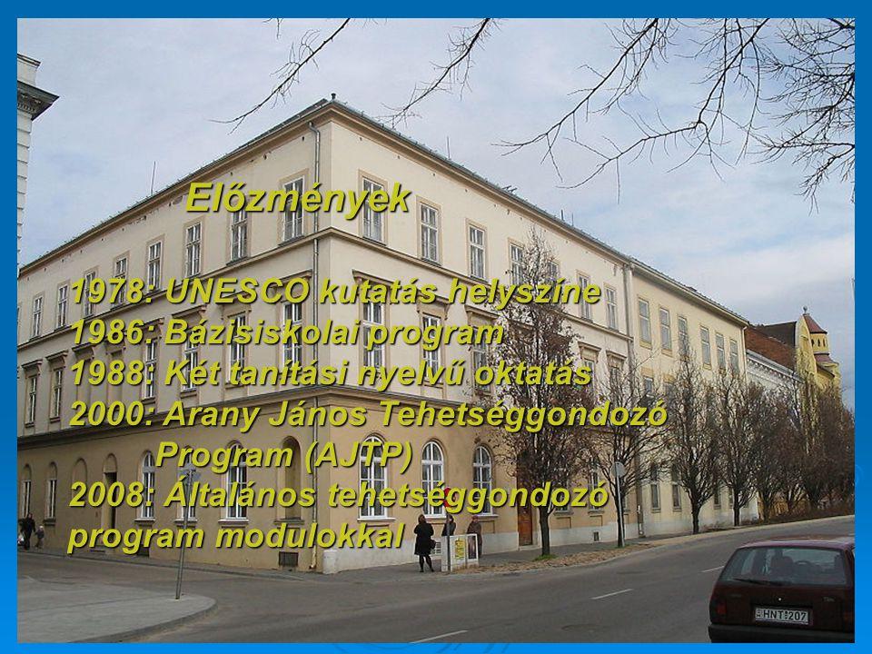 1978: UNESCO kutatás helyszíne 1986: Bázisiskolai program 1988: Két tanítási nyelvű oktatás 2000: Arany János Tehetséggondozó Program (AJTP) 2008: Ált