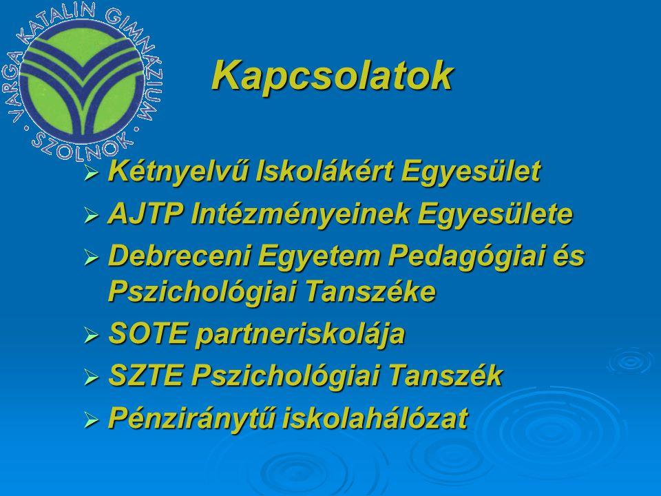 Kapcsolatok  Kétnyelvű Iskolákért Egyesület  AJTP Intézményeinek Egyesülete  Debreceni Egyetem Pedagógiai és Pszichológiai Tanszéke  SOTE partneri