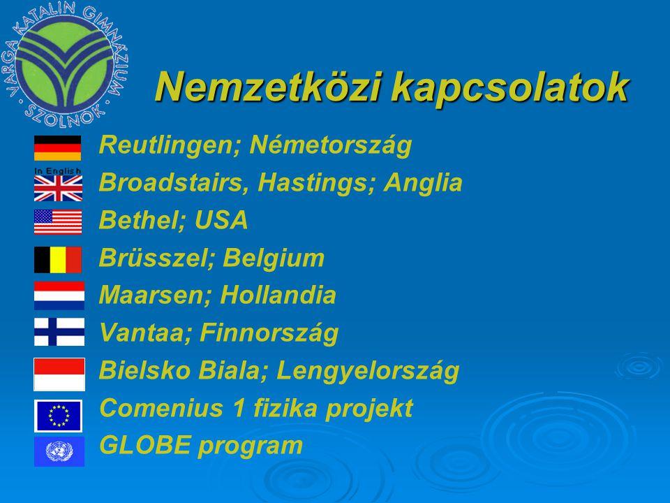 Nemzetközi kapcsolatok Reutlingen; Németország Broadstairs, Hastings; Anglia Bethel; USA Brüsszel; Belgium Maarsen; Hollandia Vantaa; Finnország Bielsko Biala; Lengyelország Comenius 1 fizika projekt GLOBE program