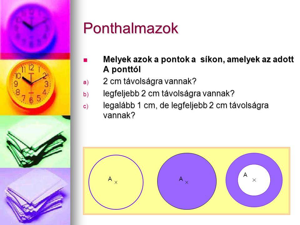 Ponthalmazok Melyek azok a pontok a síkon, amelyek az adott A ponttól Melyek azok a pontok a síkon, amelyek az adott A ponttól a) 2 cm távolságra vann