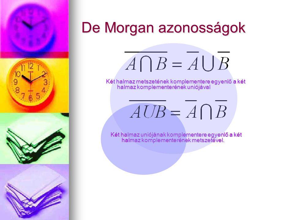 De Morgan azonosságok Két halmaz metszetének komplementere egyenlő a két halmaz komplementerének uniójával Két halmaz uniójának komplementere egyenlő