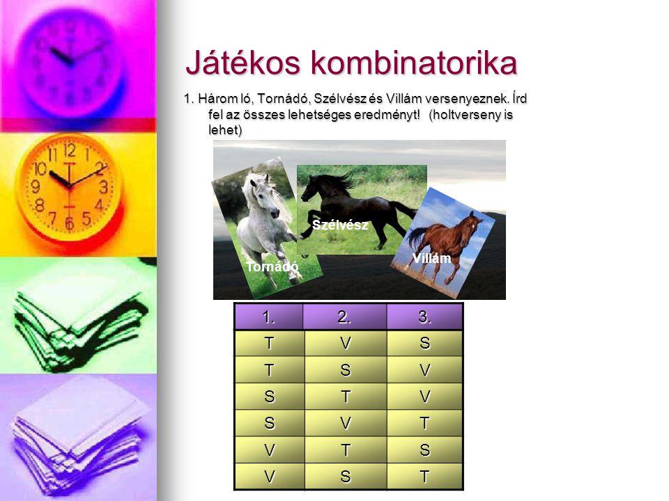 Játékos kombinatorika 1. Három ló, Tornádó, Szélvész és Villám versenyeznek. Írd fel az összes lehetséges eredményt! (holtverseny is lehet) TVS TSV ST