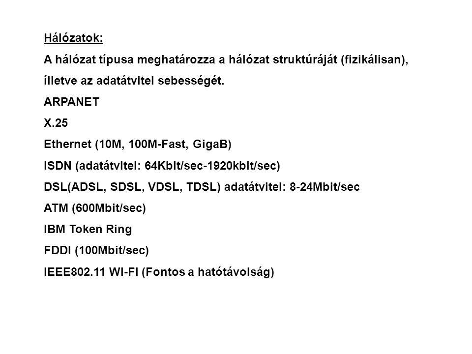 Hálózatok: A hálózat típusa meghatározza a hálózat struktúráját (fizikálisan), ílletve az adatátvitel sebességét. ARPANET X.25 Ethernet (10M, 100M-Fas