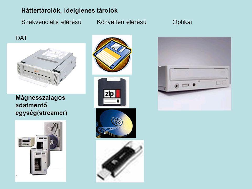 Háttértárolók, ideiglenes tárolók Szekvenciális elérésűKözvetlen elérésűOptikai Mágnesszalagos adatmentő egység(streamer) DAT