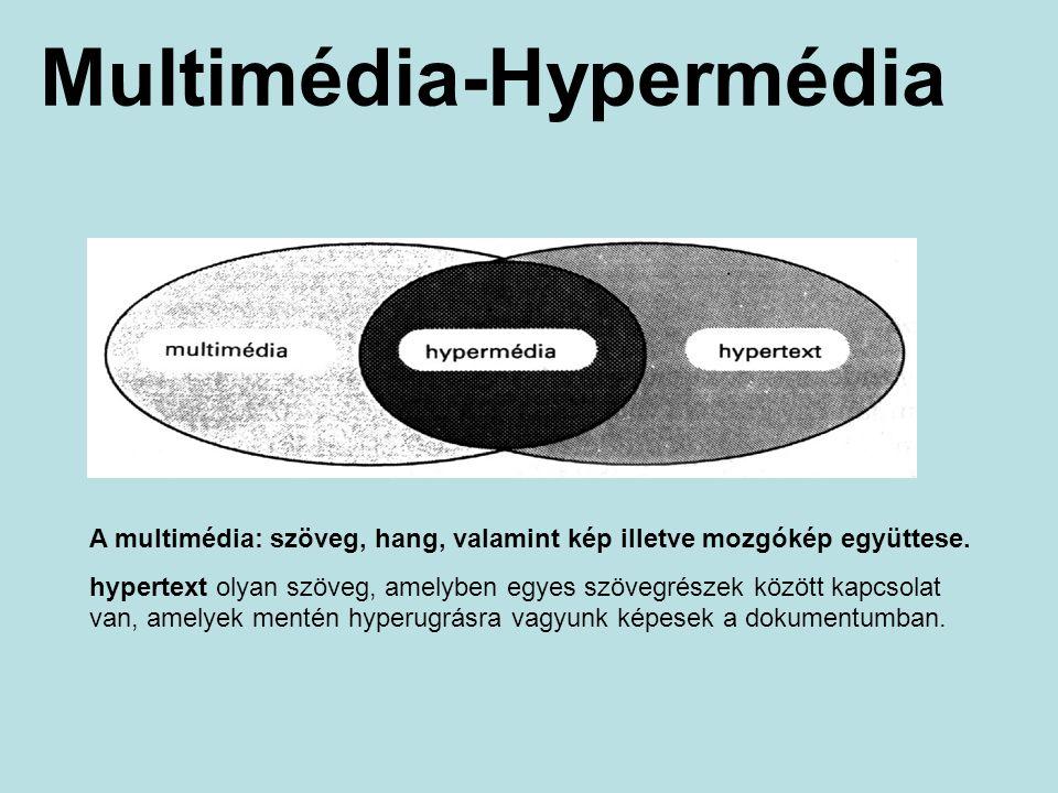 Multimédia-Hypermédia A multimédia: szöveg, hang, valamint kép illetve mozgókép együttese. hypertext olyan szöveg, amelyben egyes szövegrészek között
