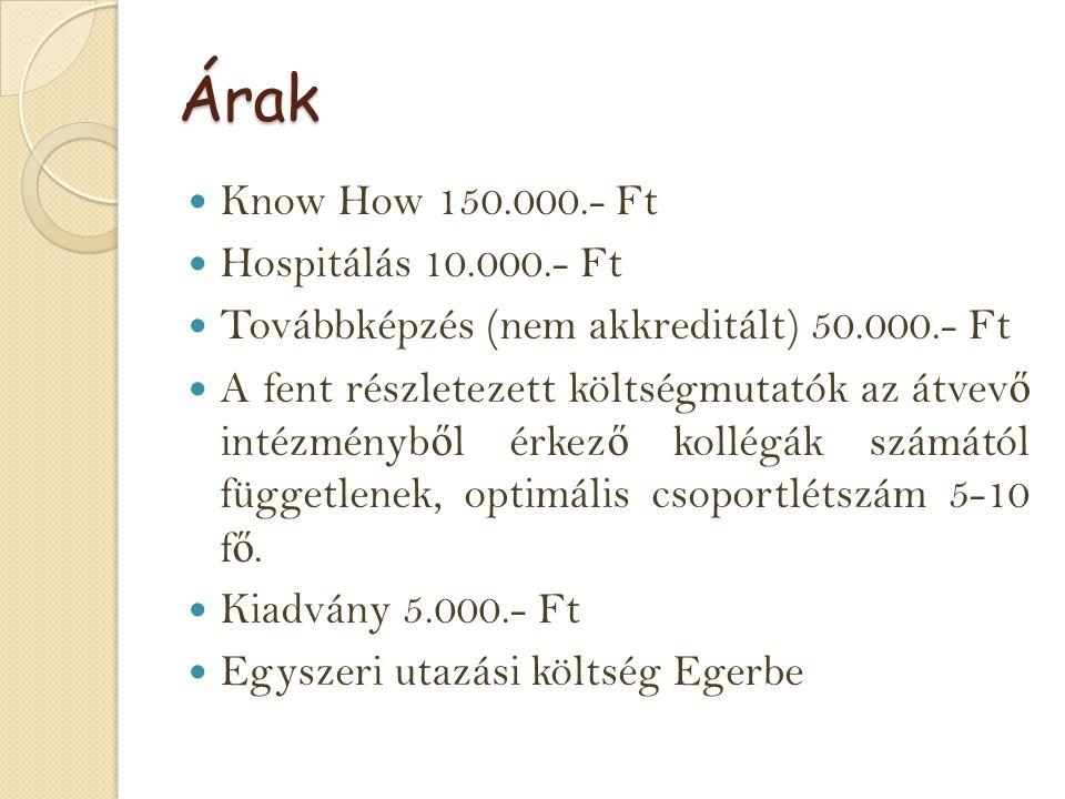 Árak Know How 150.000.- Ft Hospitálás 10.000.- Ft Továbbképzés (nem akkreditált) 50.000.- Ft A fent részletezett költségmutatók az átvev ő intézményb