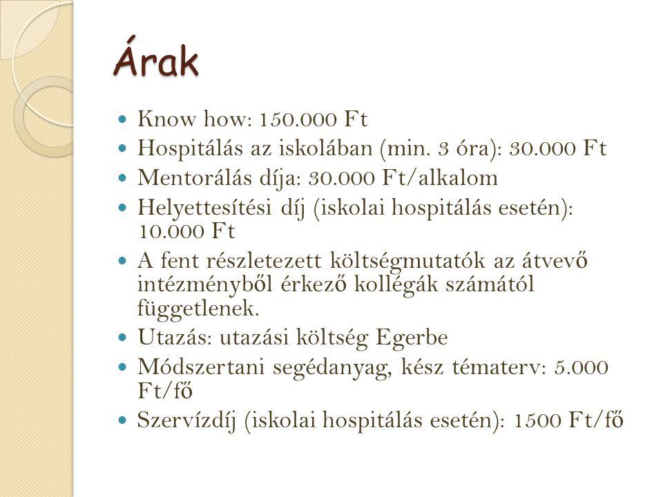 Árak Know how: 150.000 Ft Hospitálás az iskolában (min. 3 óra): 30.000 Ft Mentorálás díja: 30.000 Ft/alkalom Helyettesítési díj (iskolai hospitálás es