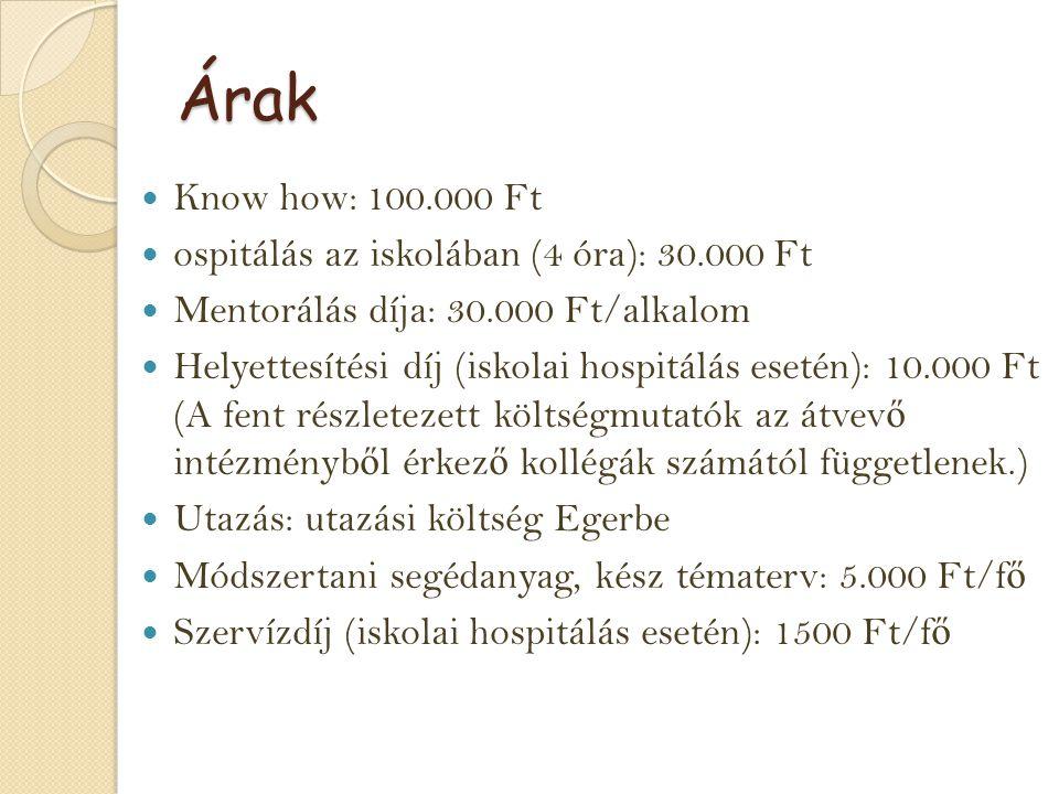 Árak Know how: 100.000 Ft ospitálás az iskolában (4 óra): 30.000 Ft Mentorálás díja: 30.000 Ft/alkalom Helyettesítési díj (iskolai hospitálás esetén):