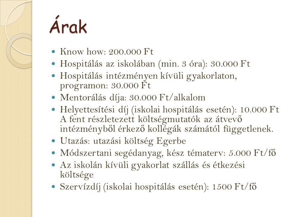 Árak Know how: 200.000 Ft Hospitálás az iskolában (min. 3 óra): 30.000 Ft Hospitálás intézményen kívüli gyakorlaton, programon: 30.000 Ft Mentorálás d