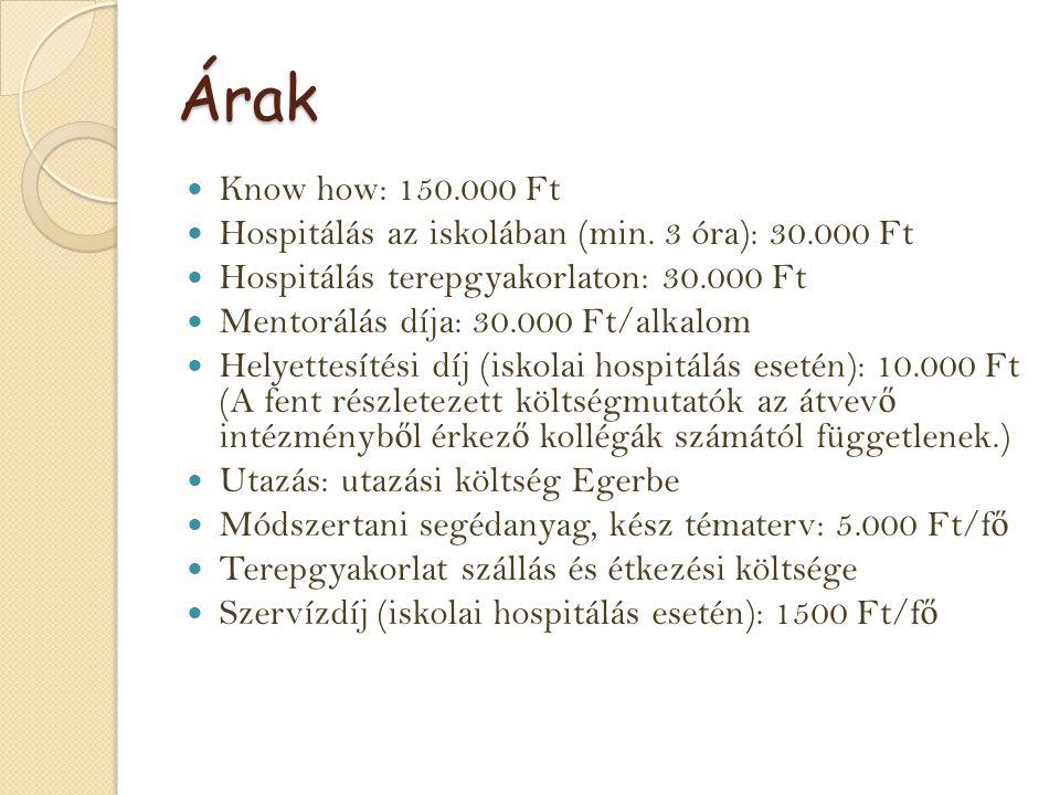 Árak Know how: 150.000 Ft Hospitálás az iskolában (min. 3 óra): 30.000 Ft Hospitálás terepgyakorlaton: 30.000 Ft Mentorálás díja: 30.000 Ft/alkalom He