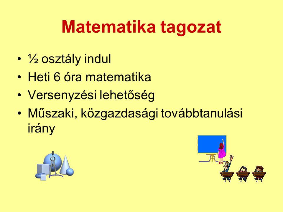 Matematika tagozat ½ osztály indul Heti 6 óra matematika Versenyzési lehetőség Műszaki, közgazdasági továbbtanulási irány