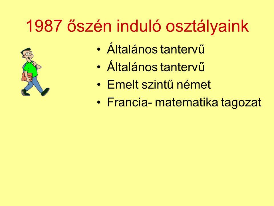 1987 őszén induló osztályaink Általános tantervű Emelt szintű német Francia- matematika tagozat