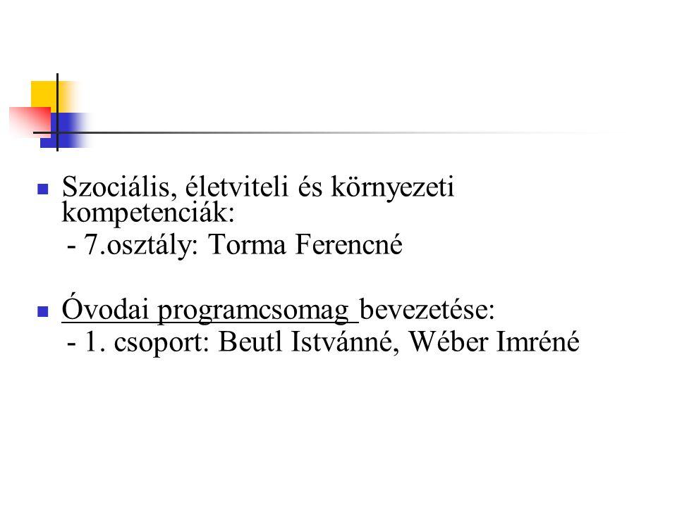 Szociális, életviteli és környezeti kompetenciák: - 7.osztály: Torma Ferencné Óvodai programcsomag bevezetése: - 1. csoport: Beutl Istvánné, Wéber Imr