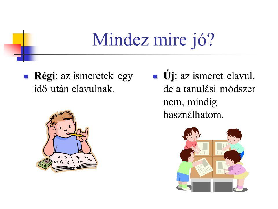 Mindez mire jó? Régi Régi: az ismeretek egy idő után elavulnak. Új Új: az ismeret elavul, de a tanulási módszer nem, mindig használhatom.
