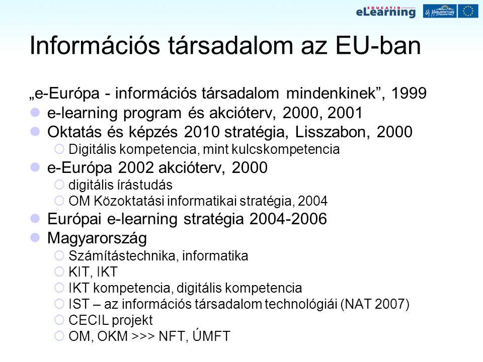"""Információs társadalom az EU-ban """"e-Európa - információs társadalom mindenkinek"""", 1999 e-learning program és akcióterv, 2000, 2001 Oktatás és képzés 2"""