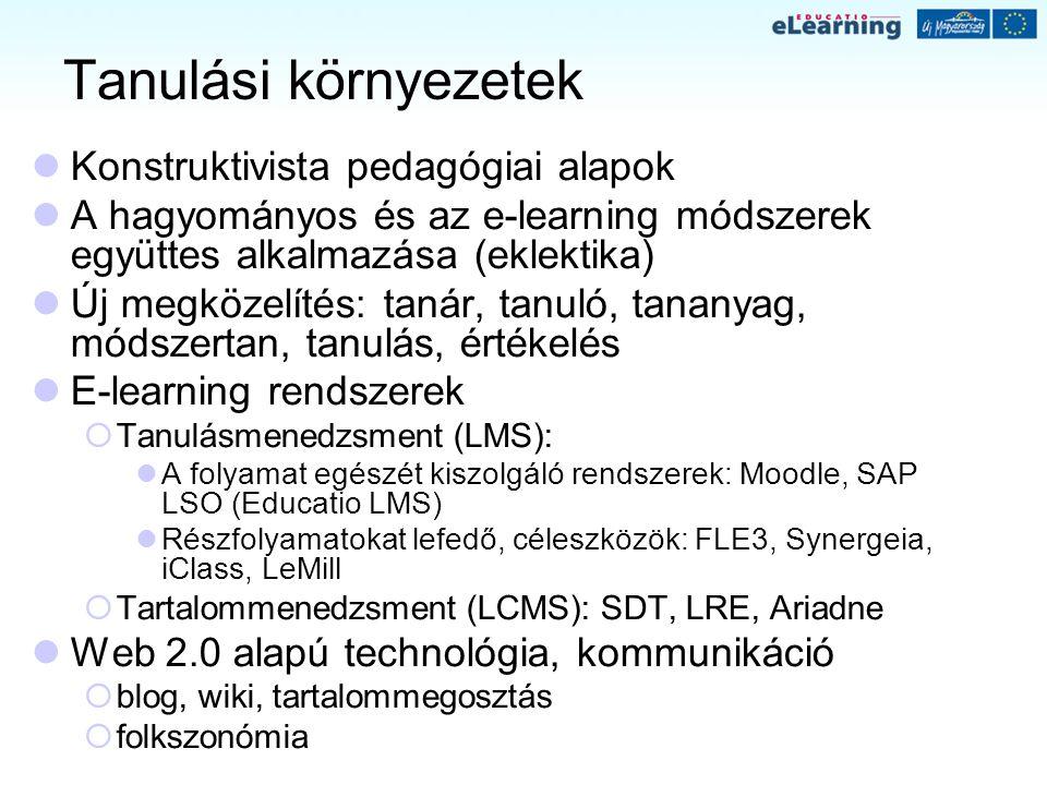 Tanulási környezetek Konstruktivista pedagógiai alapok A hagyományos és az e-learning módszerek együttes alkalmazása (eklektika) Új megközelítés: taná