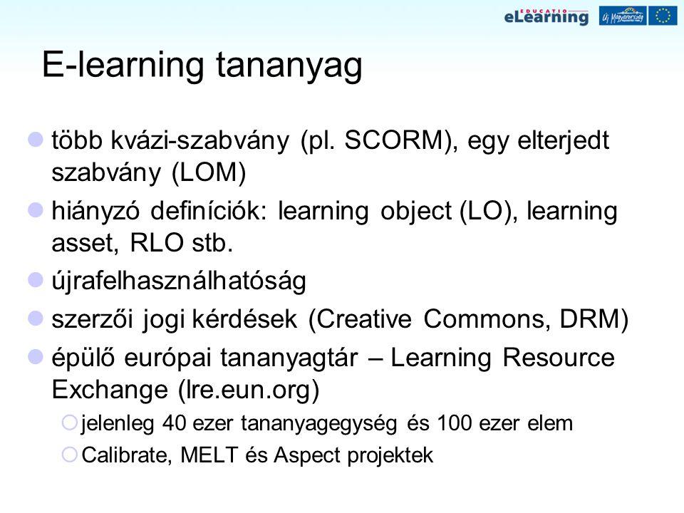 E-learning tananyag több kvázi-szabvány (pl. SCORM), egy elterjedt szabvány (LOM) hiányzó definíciók: learning object (LO), learning asset, RLO stb. ú
