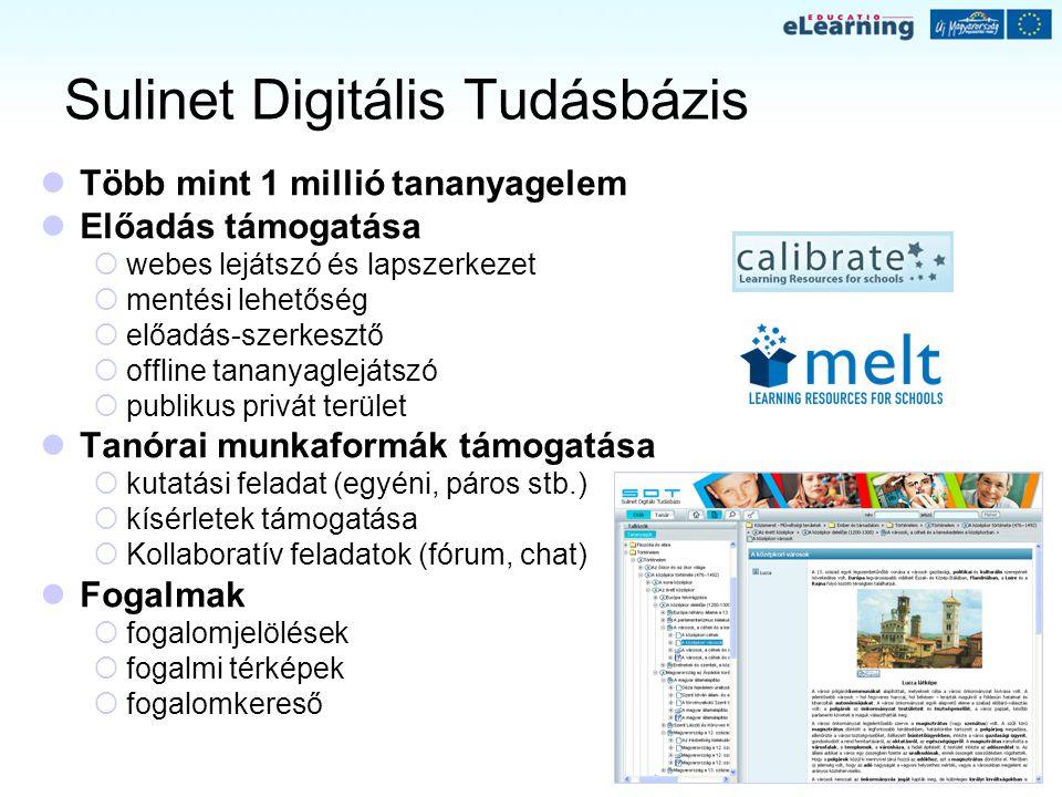 Sulinet Digitális Tudásbázis Több mint 1 millió tananyagelem Előadás támogatása  webes lejátszó és lapszerkezet  mentési lehetőség  előadás-szerkes