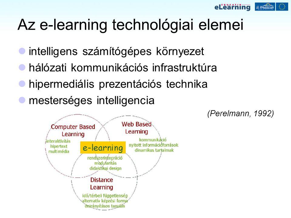 Az e-learning technológiai elemei intelligens számítógépes környezet hálózati kommunikációs infrastruktúra hipermediális prezentációs technika mesters