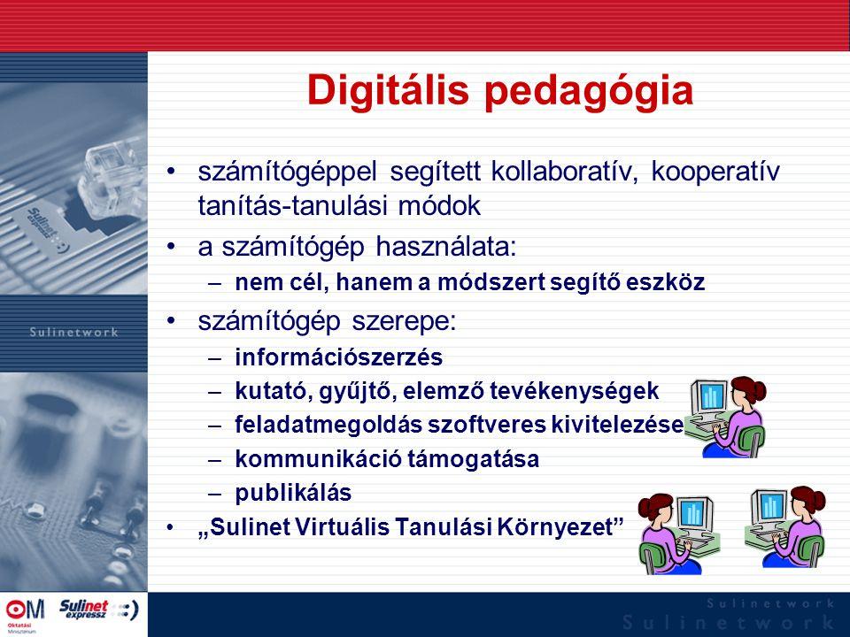Digitális pedagógia számítógéppel segített kollaboratív, kooperatív tanítás-tanulási módok a számítógép használata: –nem cél, hanem a módszert segítő