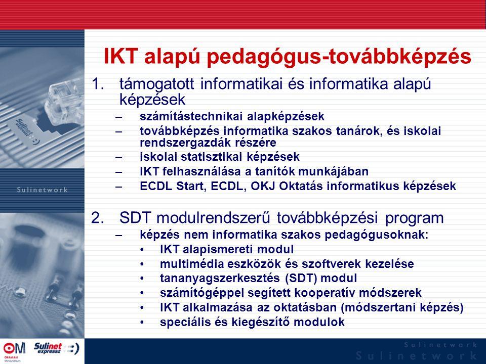 IKT alapú pedagógus-továbbképzés 1.támogatott informatikai és informatika alapú képzések –számítástechnikai alapképzések –továbbképzés informatika sza