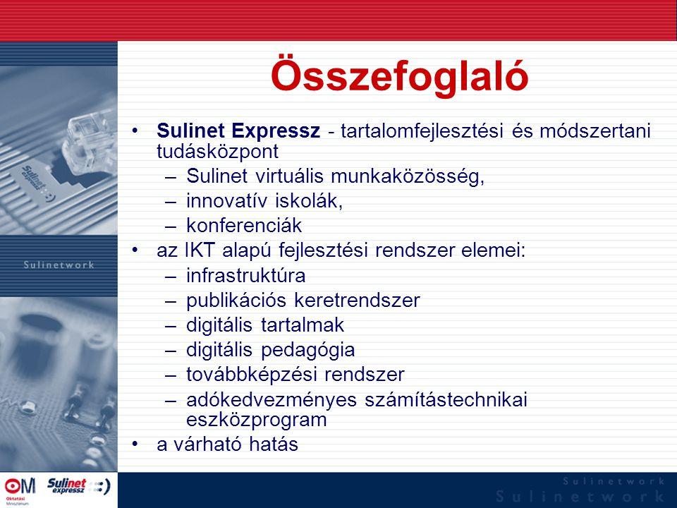 Összefoglaló Sulinet Expressz - tartalomfejlesztési és módszertani tudásközpont –Sulinet virtuális munkaközösség, –innovatív iskolák, –konferenciák az