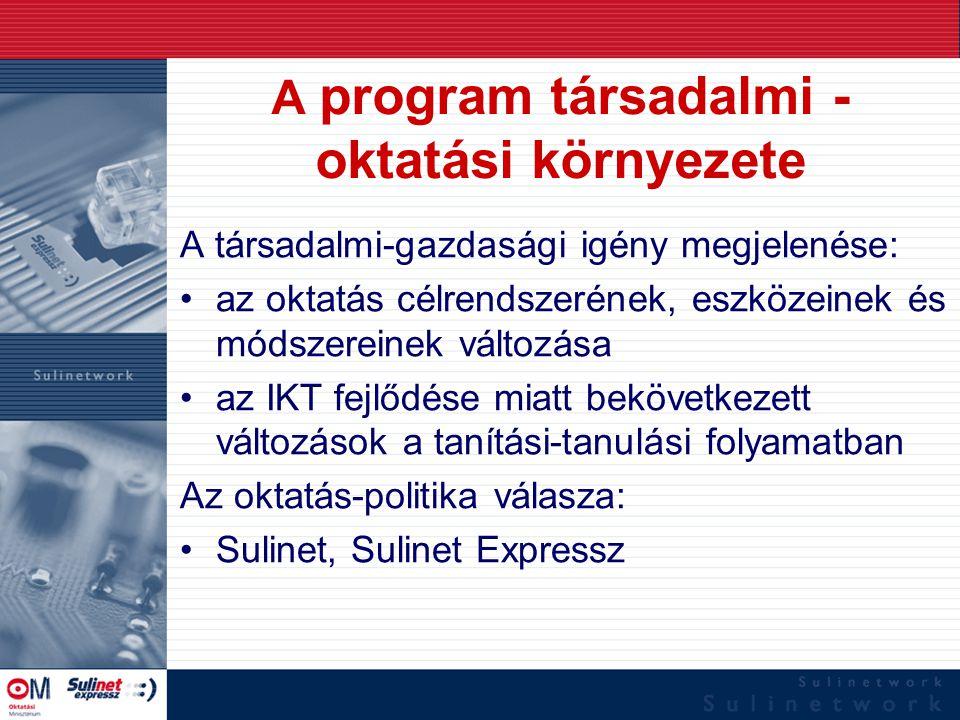 A program társadalmi - oktatási környezete A társadalmi-gazdasági igény megjelenése: az oktatás célrendszerének, eszközeinek és módszereinek változása