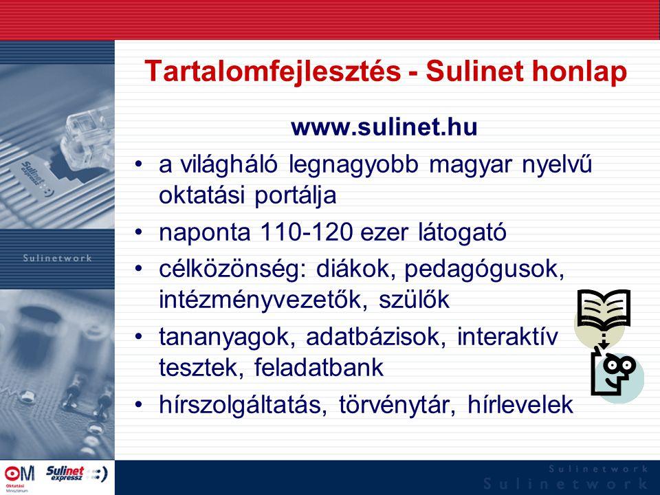 Tartalomfejlesztés - Sulinet honlap www.sulinet.hu a világháló legnagyobb magyar nyelvű oktatási portálja naponta 110-120 ezer látogató célközönség: d